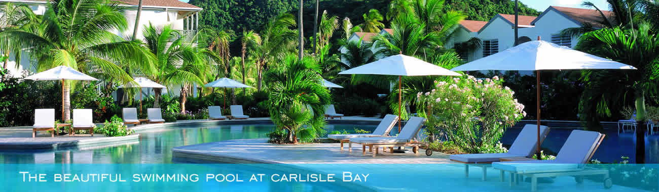 The beautiful swimming pool at Carlisle Bay