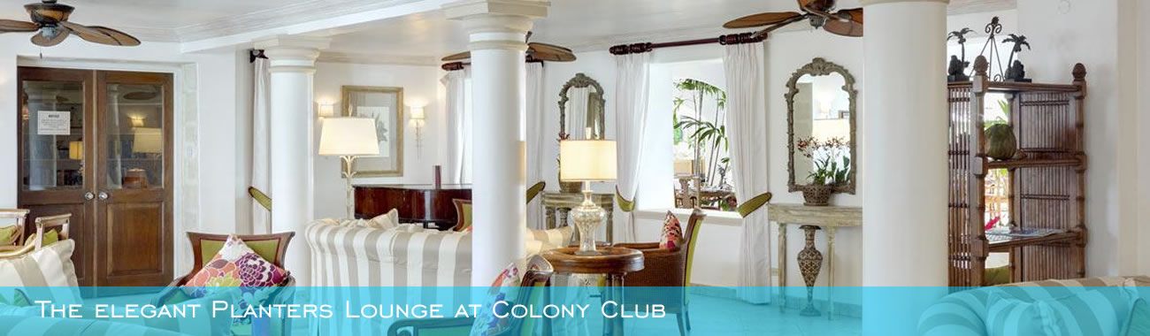 The elegant Planters Lounge at Colony Club