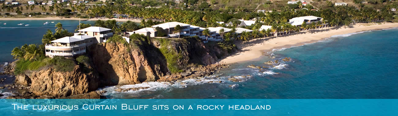 The luxurious Curtain Bluff sits on a rocky headland