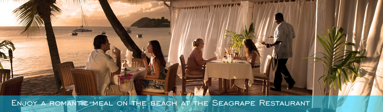 Enjoy a romantic meal on the beach at the Seagrape Restaurant