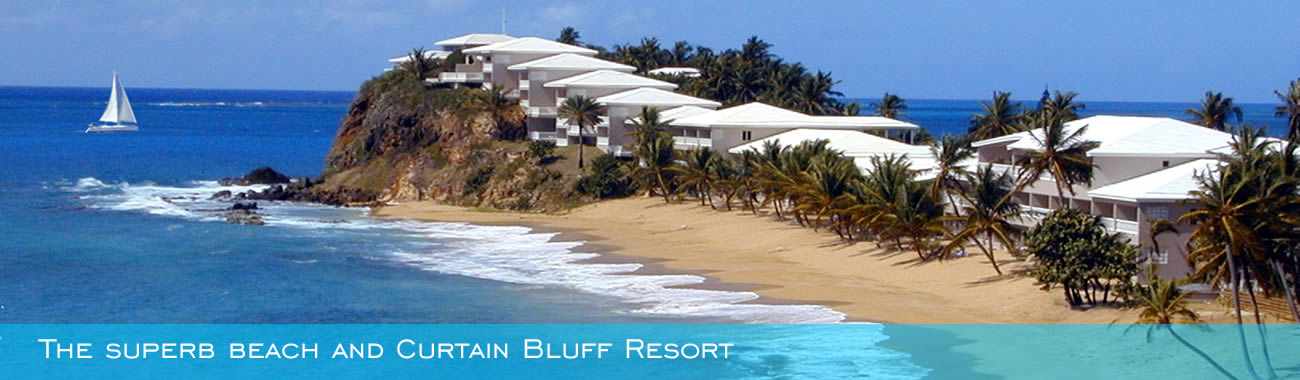 The superb beach and Curtain Bluff Resort