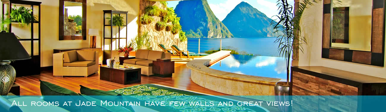 All rooms at Jade Mountain have few walls and great views!