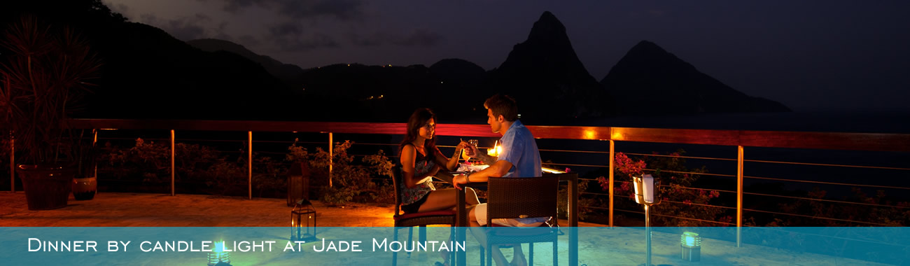 Dinner by candle light at Jade Mountain