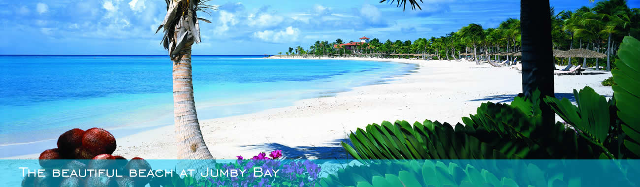 The beautiful beach at Jumby Bay