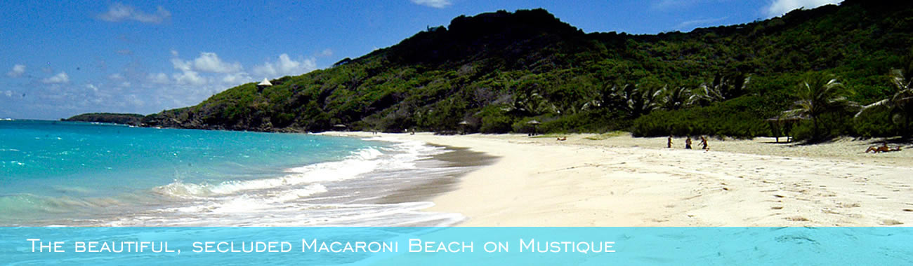 The beautiful, secluded Macaroni Beach on Mustique