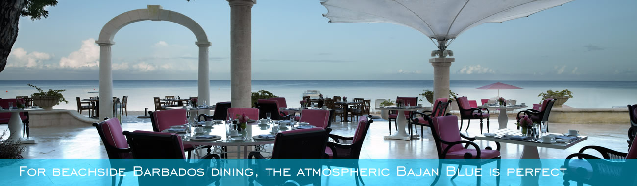 For beachside Barbados dining, the atmospheric Bajan Blue is perfect