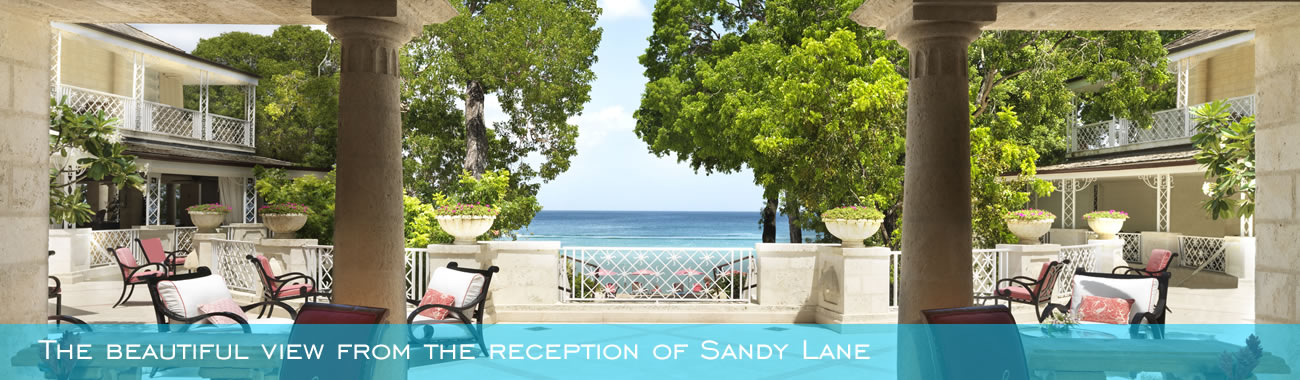 The beautiful view from the reception of Sandy Lane