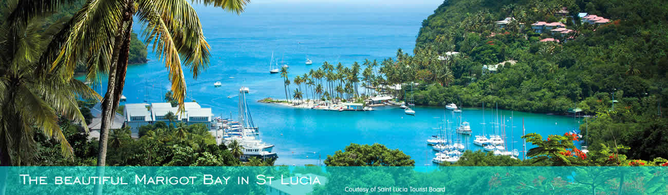 The beautiful Marigot Bay in St Lucia