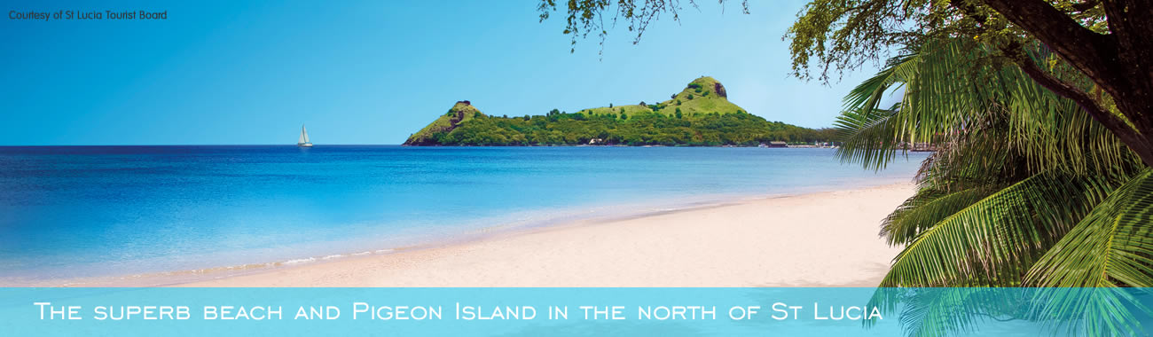 The superb beach and Pigeon Island in the north of St Lucia
